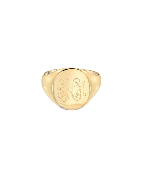 Zoe Lev Jewelry Large Personalized Initial Signet Ring, Size 4-8