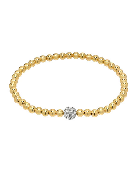 Zoe Lev Jewelry 14k Gold Diamond Bead Bracelet, 4mm