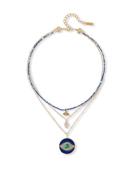 Sequin 3-Pendant Evil Eye Necklace