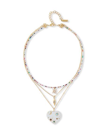 Sequin 3-Pendant Heart Necklace