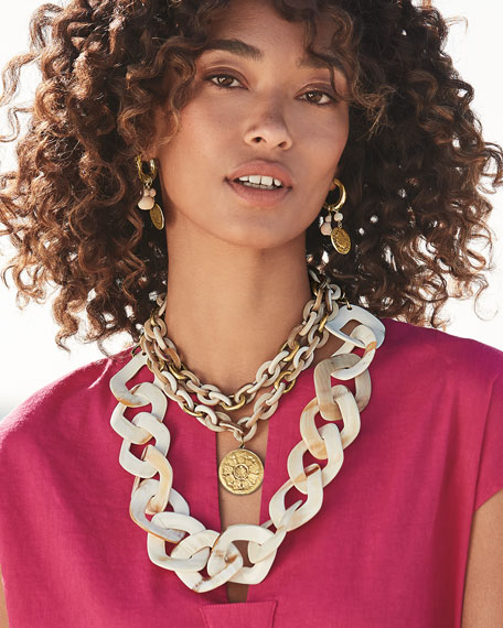 NEST Jewelry Blonde Horn Double Strand Medallion Necklace