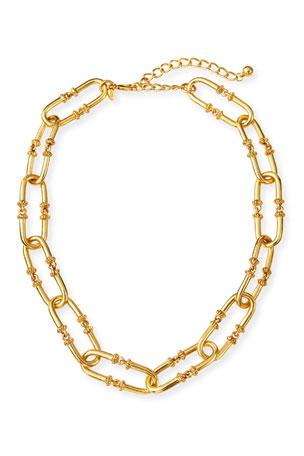 Kenneth Jay Lane Antiqued Oval-Link Necklace