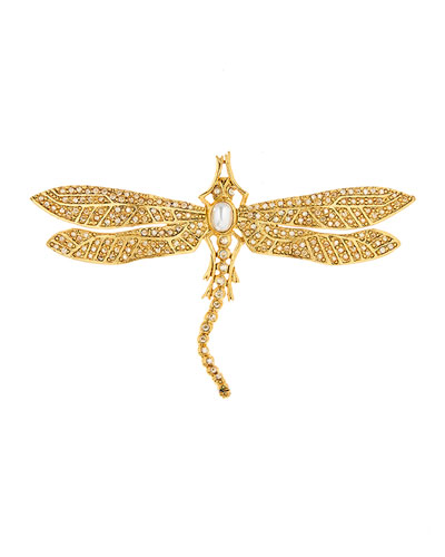 Pearly Crystal Pave Dragonfly Brooch