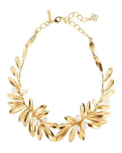 Pearly Leaf Necklace