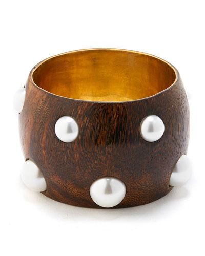 Pearly Wood Bangle