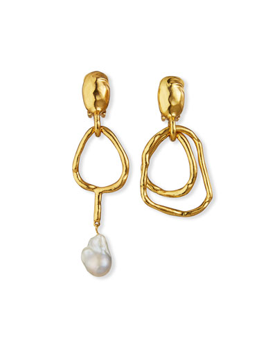 Hammered Mismatch 1-Pearl Clip Earrings