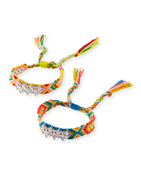 Fallon Pull-Cord Friendship Bracelets, Set of 2, Rainbow