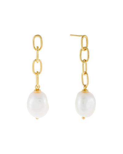 Pearl-Drop Link Stud Earrings
