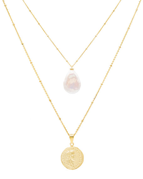 ADINAS JEWELS Coin and Baroque Pearl Necklaces, Set of 2