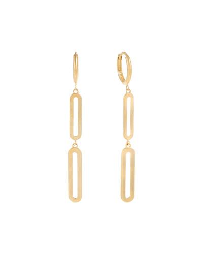 14k Paper Clip Drop Huggie Earrings