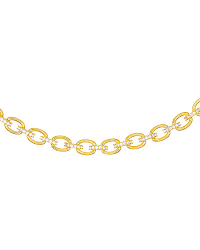Cubic Zirconia Chain-Link Choker Necklace