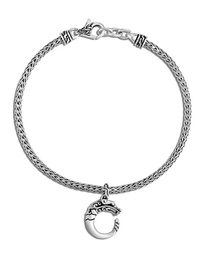 Legends Naga Silver Charm on 2.5mm Mini Chain Bracelet  Size M