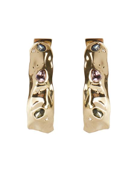 Alexis Bittar Stone Studded Crumpled Hoop Earrings
