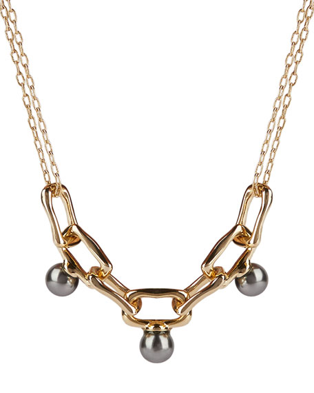 Alexis Bittar Pearly Studded Chain Link Necklace
