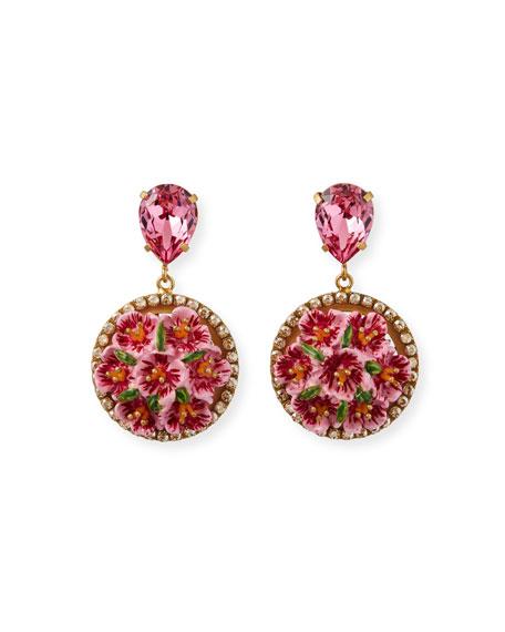 Dolce & Gabbana Floral Disc-Drop Earrings, Pink
