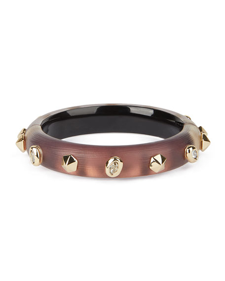 Image 2 of 4: Alexis Bittar Stone Studded Small Hinge Bracelet, Metallic Red
