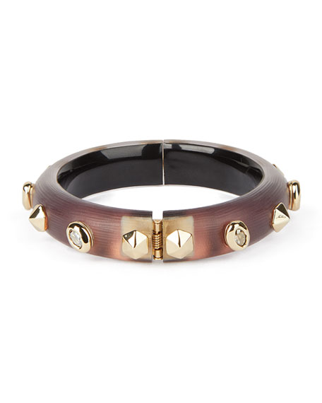 Image 3 of 4: Alexis Bittar Stone Studded Small Hinge Bracelet, Metallic Red