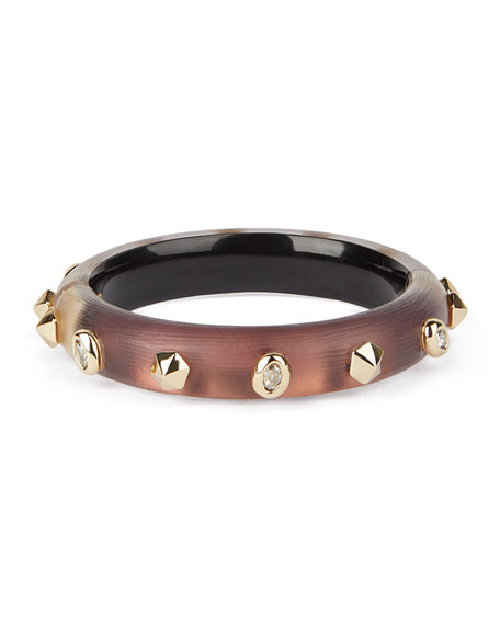 Image 1 of 4: Alexis Bittar Stone Studded Small Hinge Bracelet, Metallic Red