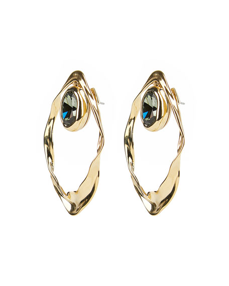 Image 2 of 3: Alexis Bittar Crumpled Orbit Stone Post Earrings