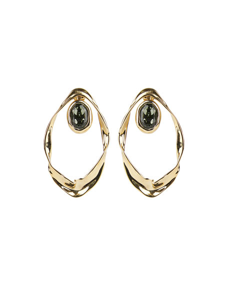 Image 1 of 3: Alexis Bittar Crumpled Orbit Stone Post Earrings