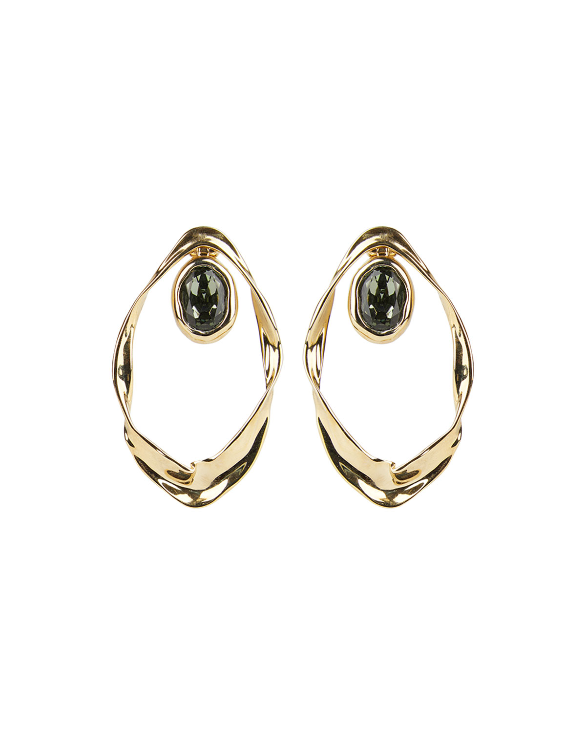 Alexis Bittar Crumpled Orbit Stone Post Earrings