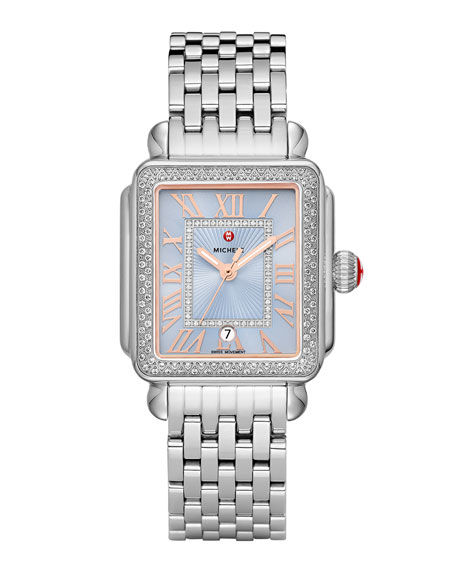 Image 1 of 2: MICHELE Deco Madison Stainless Diamond Watch, Blue/Silver