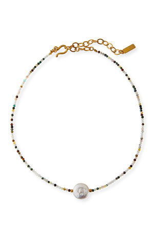 Sequin Multi-Stone 1-Pearl Necklace