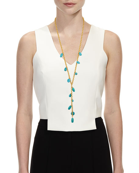 NEST Jewelry Long Gold Chain Y Necklace with Turquoise Charms