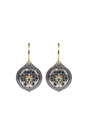 Konstantino Astria Two Tone Spinel Lone Star Drop Earrings