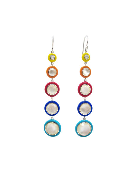 Ippolita Lollipop Carnevale 5-Drop Earrings in Sterling Silver with Mother-of-Pearl Doublets and Ceramics