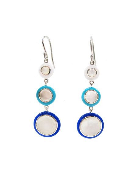 Ippolita Lollipop Carnevale 3-Drop Earrings in Sterling Silver with Mother-of-Pearl Doublets and Ceramics