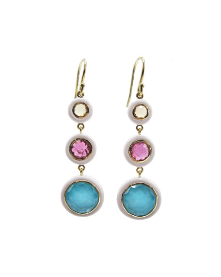 Ippolita Lollipop Carnevale 3-Drop Earrings in 18K Gold with Multi Stones and White Ceramic
