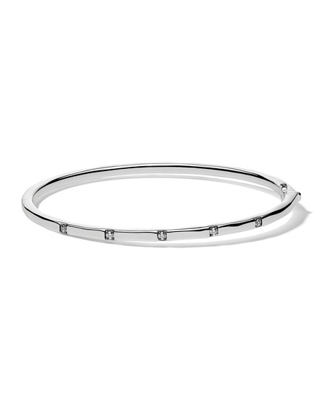 Ippolita Stardust Thin Hinged Bangle in Sterling Silver with Diamonds