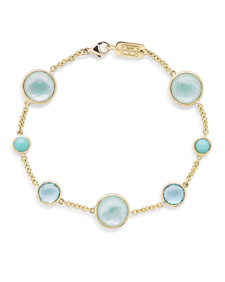 Ippolita Lollipop 7-Stone Link Bracelet in 18K Gold with Turquoise/Swiss Blue Topaz/Amazonite Triplet