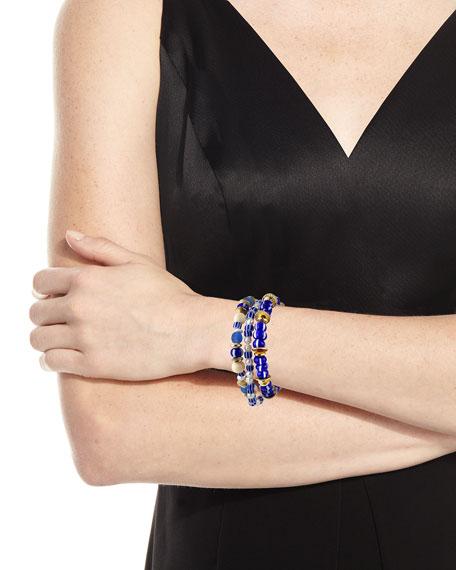 Akola Pearl and Bead Stretch Bracelets, Set of 3, Blue
