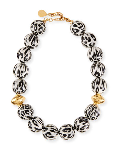 Animal-Print Wood Bead Necklace