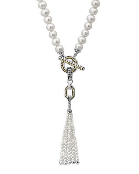 LAGOS Luna Pearl Tassel Pendant Necklace