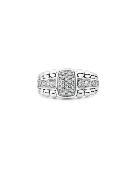 Image 2 of 4: Lagos Caviar Spark Pave Diamond Ring, Size 7