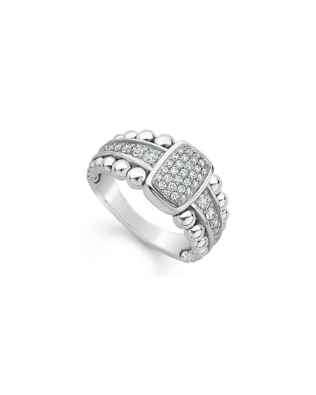 Image 1 of 4: Lagos Caviar Spark Pave Diamond Ring, Size 7