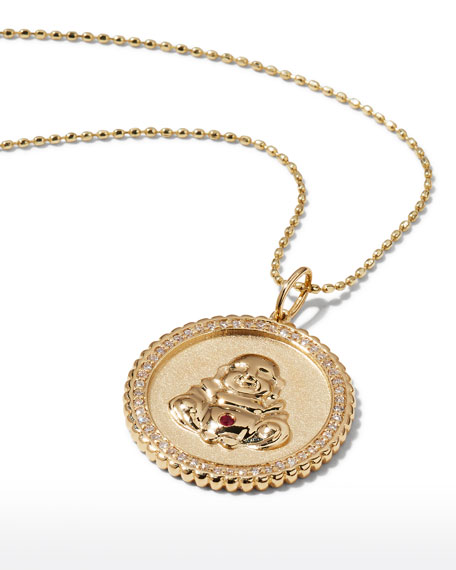 Image 3 of 3: Sydney Evan 14k Buddha Coin Pendant Necklace with Diamonds