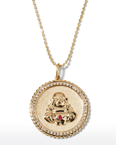 Image 1 of 3: Sydney Evan 14k Buddha Coin Pendant Necklace with Diamonds