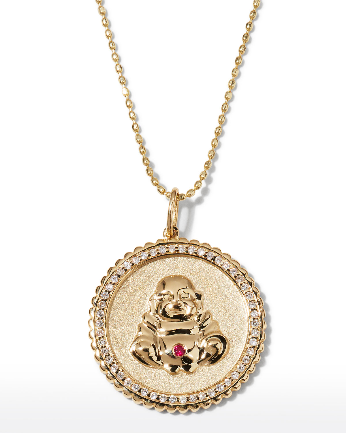 Sydney Evan 14k Buddha Coin Pendant Necklace with Diamonds