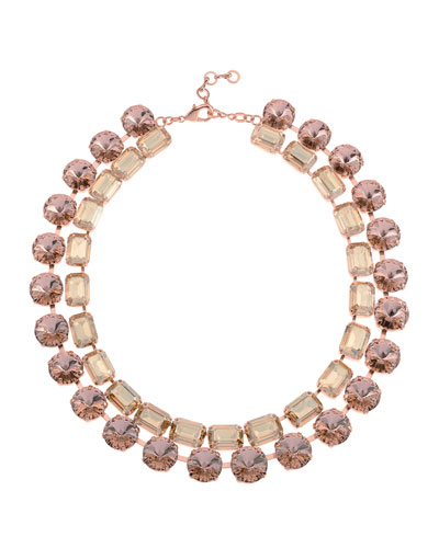 Anna- Bella Crystal 2-Row Necklace  Rose Gold