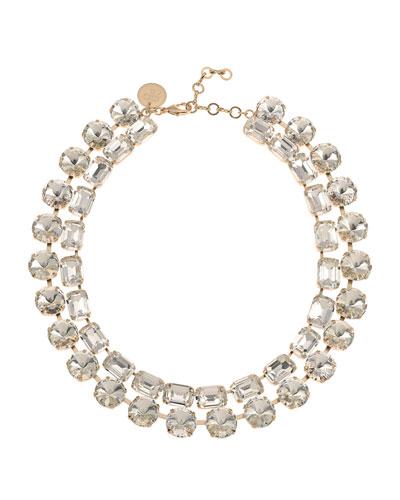 Anna-Bella Crystal 2-Row Necklace  Clear