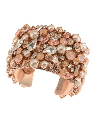 Phoebe Crystal Cuff Bracelet  Rose Gold