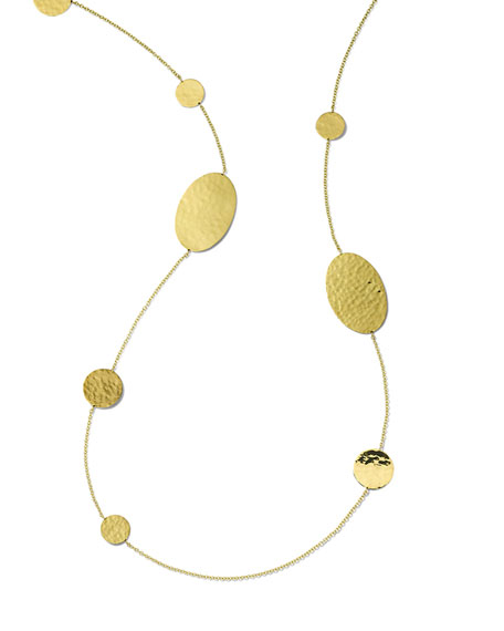 Ippolita Classico Crinkle Oval and Circles Necklace in 18K Gold