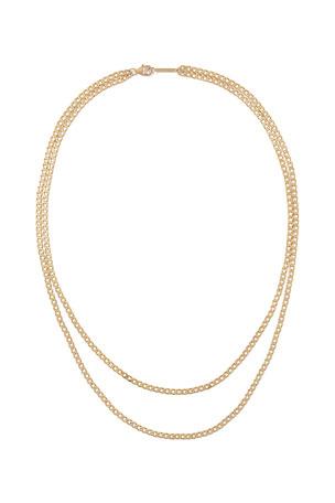 Double Chain Gold Choker Necklace Star Hoop Drop Bar