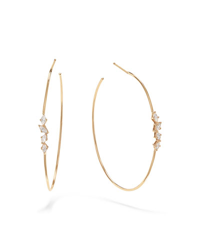 Solo Marquis Diamond Hoop Earrings  45mm
