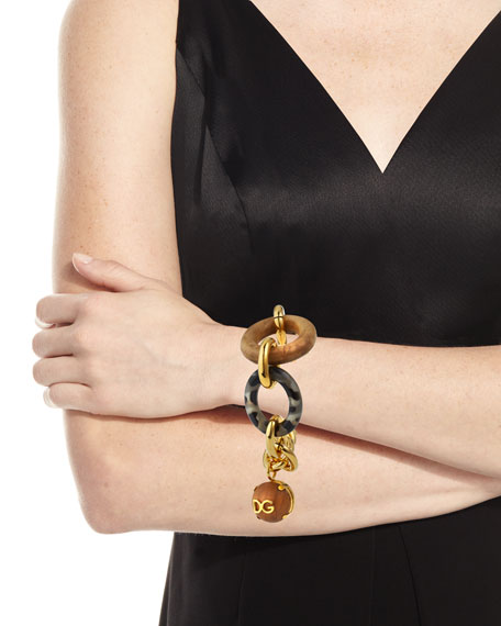Image 2 of 3: Dolce & Gabbana Tortoise and Wood Link Bracelet