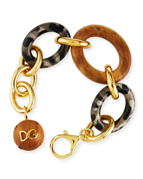 Image 1 of 3: Dolce & Gabbana Tortoise and Wood Link Bracelet